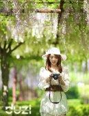 紫藤花下的美少女
