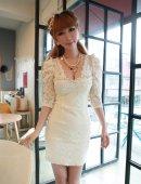 2012夏季新款日韩版女装公主风蕾丝丝缎连衣裙子