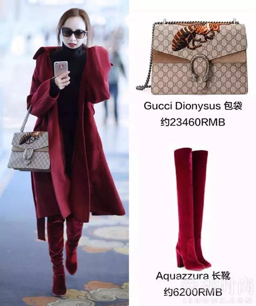 Gucci经典的酒神包-鞋包同色早已打入冷宫 杨幂唐嫣新宠衣鞋同色穿搭